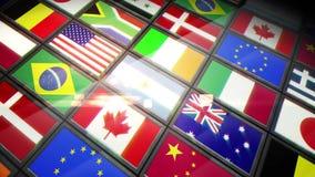Κολάζ των οθονών που παρουσιάζουν σημαίες απεικόνιση αποθεμάτων