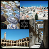 Κολάζ των ορόσημων του Ισραήλ, χώρα τριών κύριων παγκόσμιων θρησκειών Στοκ Φωτογραφίες