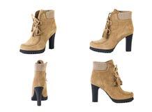 Κολάζ των παπουτσιών των γυναικών παπουτσιών σε ένα άσπρο υπόβαθρο, καφετιά παπούτσια, άνοιξη μποτών σουέτ Στοκ εικόνα με δικαίωμα ελεύθερης χρήσης