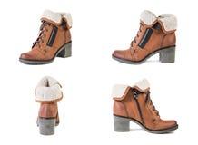 Κολάζ των παπουτσιών των γυναικών παπουτσιών σε ένα άσπρο υπόβαθρο, καφετιά παπούτσια, άνοιξη μποτών σουέτ Στοκ Φωτογραφίες