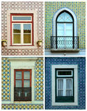 Κολάζ των παραθύρων στην Πορτογαλία με τα κεραμίδια Στοκ Εικόνα