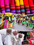 Κολάζ των παραδοσιακών εικόνων πολιτισμού του Περού - υπόβαθρο ταξιδιού ( Στοκ φωτογραφία με δικαίωμα ελεύθερης χρήσης