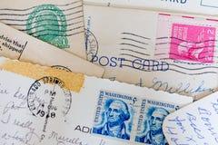 Κολάζ των παλαιών καρτών και των γραμματοσήμων Στοκ φωτογραφία με δικαίωμα ελεύθερης χρήσης