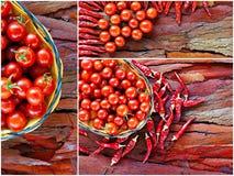 Κολάζ των πιπεριών ντοματών και τσίλι κερασιών Στοκ φωτογραφίες με δικαίωμα ελεύθερης χρήσης