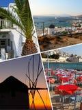 Κολάζ των τροπικών εικόνων νησιών της Ελλάδας - υπόβαθρο ταξιδιού (μ στοκ φωτογραφίες