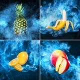 Κολάζ των φρούτων στο σκοτεινό υπόβαθρο με τον καπνό από το ηλεκτρονικό τσιγάρο για τις αγγελίες vape Στοκ Εικόνες