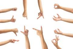 Κολάζ των χεριών γυναικών στα άσπρα υπόβαθρα Στοκ φωτογραφίες με δικαίωμα ελεύθερης χρήσης