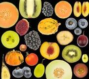 Κολάζ φρούτων που απομονώνεται στο Μαύρο Στοκ εικόνες με δικαίωμα ελεύθερης χρήσης