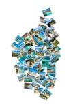 Κολάζ φωτογραφιών μορφής χαρτών του τοπίου της Κορσικής στη Γαλλία Στοκ Εικόνες