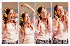 Κολάζ φωτογραφιών των εικόνων με τη μουσική ακούσματος νέων κοριτσιών που φορά τα ακουστικά Στοκ εικόνες με δικαίωμα ελεύθερης χρήσης