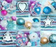 Κολάζ Χριστουγέννων των διαφορετικών υποβάθρων με τα παιχνίδια Χριστουγέννων Στοκ φωτογραφία με δικαίωμα ελεύθερης χρήσης