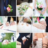 Κολάζ 9 όμορφες γαμήλιες φωτογραφίες Στοκ Φωτογραφία