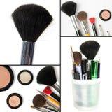 Κολάζ Makeup, βούρτσες, σκιές ματιών, mascara Στοκ φωτογραφίες με δικαίωμα ελεύθερης χρήσης