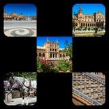 Κολάζ Plaza de espana Ισπανία τετραγωνική Σεβίλη, Ανδαλουσία, Ισπανία Στοκ φωτογραφία με δικαίωμα ελεύθερης χρήσης