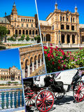 Κολάζ Plaza de espana Ισπανία τετραγωνική Σεβίλη, Ανδαλουσία, Ισπανία Στοκ φωτογραφίες με δικαίωμα ελεύθερης χρήσης