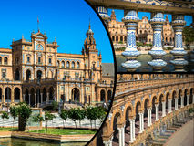 Κολάζ Plaza de espana Ισπανία τετραγωνική Σεβίλη, Ανδαλουσία, Ισπανία Στοκ εικόνα με δικαίωμα ελεύθερης χρήσης
