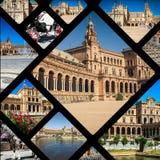Κολάζ Plaza de espana Ισπανία τετραγωνική Σεβίλη, Ανδαλουσία, Ισπανία Στοκ Εικόνες
