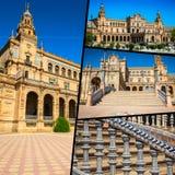 Κολάζ Plaza de espana Ισπανία τετραγωνική Σεβίλη, Ανδαλουσία, Ισπανία Στοκ Φωτογραφίες