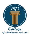 Κολλέγιο του εμβλήματος αρχιτεκτονικής και τέχνης απεικόνιση αποθεμάτων