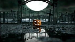 Κολοκύθα αποκριών σε ένα απόκοσμο νεκροταφείο Νύχτα φρίκης Έννοια Hallowenn Ρεαλιστική ζωτικότητα ελεύθερη απεικόνιση δικαιώματος