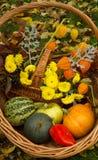κολοκύθα και η πράσινη Apple, κόκκινο πιπέρι και κίτρινα λουλούδια Στοκ εικόνα με δικαίωμα ελεύθερης χρήσης