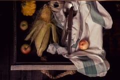Κολοκύθες, μήλα, καλαμπόκι Στοκ φωτογραφία με δικαίωμα ελεύθερης χρήσης