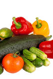 Κολοκύθι κολοκυθιών, γλυκό πιπέρι και ντομάτες που απομονώνονται στο λευκό Στοκ φωτογραφία με δικαίωμα ελεύθερης χρήσης
