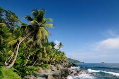 Κολομβιανή καραϊβική ακτή κοντά στα σύνορα του Παναμά Στοκ Φωτογραφίες