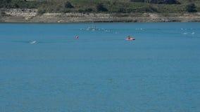 Κολυμβητές που κολυμπούν στον αθλητισμό triathlon σε ένα έλος φιλμ μικρού μήκους