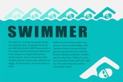 Κολυμβητής γραφικός με το υπόβαθρο Στοκ Εικόνες