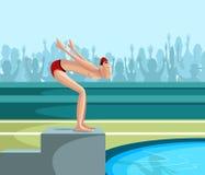 Κολυμβητής που βουτά στη λίμνη ελεύθερη απεικόνιση δικαιώματος