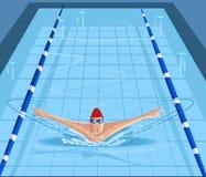 Κολυμβητής που κολυμπά στη λίμνη διανυσματική απεικόνιση