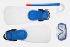 Κολυμπήστε με αναπνευτήρα, βατραχοπέδιλα και μάσκα για την κατάδυση Στοκ εικόνα με δικαίωμα ελεύθερης χρήσης