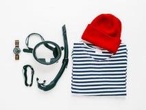 Κολυμπήστε με αναπνευτήρα εξοπλισμός με το πουκάμισο ναυτικών Στοκ φωτογραφία με δικαίωμα ελεύθερης χρήσης