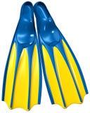 Κολυμπήστε τα πτερύγια με το μπλε λαστιχένιο και κίτρινο πλαστικό διανυσματική απεικόνιση