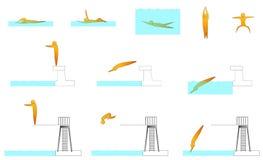 Κολυμπώντας ανθρώπινες αθλητικές σκιαγραφίες Στοκ φωτογραφίες με δικαίωμα ελεύθερης χρήσης