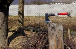 Κολόβωμα τσεκουριών και δέντρων Στοκ φωτογραφία με δικαίωμα ελεύθερης χρήσης