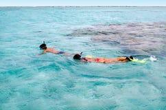 Κολύμβηση με αναπνευστήρα στις νήσους Κουκ λιμνοθαλασσών Aitutaki Στοκ εικόνες με δικαίωμα ελεύθερης χρήσης