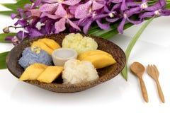 Κολλώδες ρύζι μάγκο, διάσημο επιδόρπιο της Ταϊλάνδης Στοκ Φωτογραφία