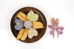 Κολλώδες ρύζι μάγκο, διάσημο επιδόρπιο της Ταϊλάνδης Στοκ Εικόνες