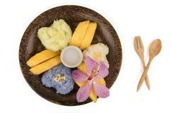 Κολλώδες ρύζι μάγκο, διάσημο επιδόρπιο της Ταϊλάνδης Στοκ Εικόνα