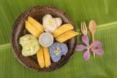 Κολλώδες ρύζι μάγκο, διάσημο επιδόρπιο της Ταϊλάνδης Στοκ εικόνα με δικαίωμα ελεύθερης χρήσης