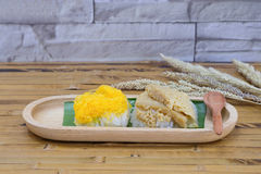 Κολλώδες ρύζι με τη βρασμένη στον ατμό κρέμα Στοκ Φωτογραφία