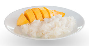 Κολλώδη ρύζι και μάγκο Στοκ φωτογραφίες με δικαίωμα ελεύθερης χρήσης