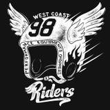 Κράνος αναβατών μοτοσικλετών, σχέδιο τυπωμένων υλών μπλουζών διανυσματική απεικόνιση