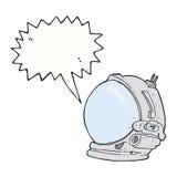 κράνος αστροναυτών κινούμενων σχεδίων με τη λεκτική φυσαλίδα Στοκ εικόνες με δικαίωμα ελεύθερης χρήσης