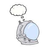 κράνος αστροναυτών κινούμενων σχεδίων με τη σκεπτόμενη φυσαλίδα Στοκ Φωτογραφία