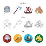Κράνος Βίκινγκ, τσεκούρι μάχης, κοράκι στα κουπιά με τις ασπίδες, δράκος, θησαυρός Βίκινγκ θέτουν τα εικονίδια συλλογής στα κινού Στοκ εικόνες με δικαίωμα ελεύθερης χρήσης