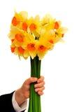 κράτημα λουλουδιών αγο& Στοκ Εικόνες
