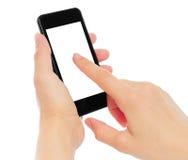 Κράτημα χεριών και σχετικά με το έξυπνο τηλέφωνο Στοκ εικόνα με δικαίωμα ελεύθερης χρήσης